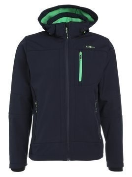 CMP MAN JACKET ZIP HOOD Kurtka Softshell blue/menta