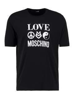 Love Moschino REGULAR LOGO TAO Tshirt z nadrukiem black