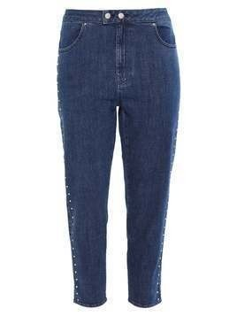 Jaded London MOM WITH DIAMONTE SIDES Jeansy Relaxed fit blue denim