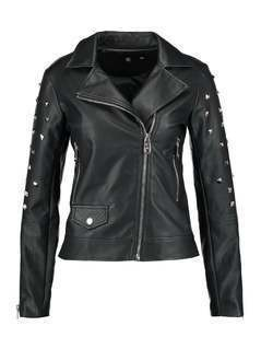 Missguided B&&B BIKER WITH BADGES AND STUDS Kurtka wiosenna black