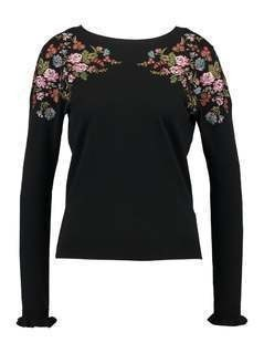 Oasis ESTHER EMBROIDERED MIRROR PLACEMENT Sweter black
