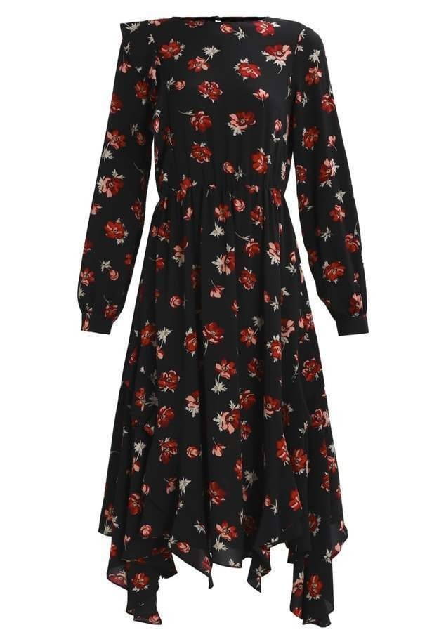 Miss Selfridge IRENE FLORAL HANKY DRESS Długa sukienka black