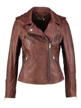 Mint Velvet WASHED BIKER JACKET Kurtka skórzana tan