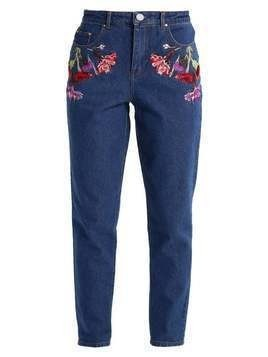 Lost Ink MOM WITH WILD FLORAL  Jeansy Relaxed Fit dark denim