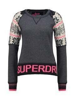 Superdry CHALET SNOW PANEL Sweter navy grit