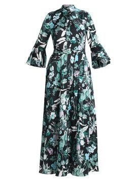 Banana Republic FLUTTER SHIRTDRESS JULIANNE FLORAL Długa sukienka green
