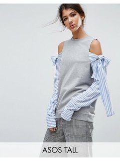 ASOS TALL Sweatshirt With Cold Shoulder&Shirt Sleeves - Grey