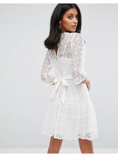 Closet London Lace Shift Dress - White