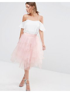 Chi Chi London Tulle Midi Skirt in Layers - Pink