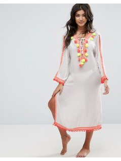 America&Beyond Neon Pom Trim Beach Dress - White