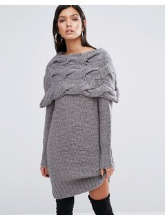 River Island Studio Chunky Cable Knit Jumper Dress - Grey