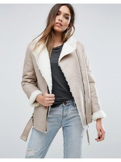 Missguided Shearling Lined Biker Jacket - Grey