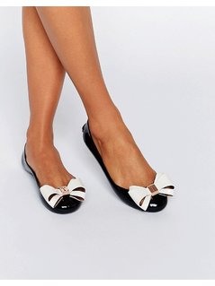 Ted Baker Julivia Bow Black Ballet Flat Shoes - Black