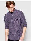 D-Struct Short Checked Shirt - Navy
