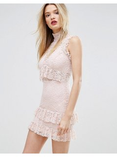 Missguided High Neck Ruffle And Lace Bodycon Dress - Pink