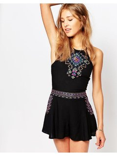 Hollister Embroidered Co-Ord Top With Cross Back Detail - Black