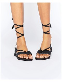 Truffle Collection Beryl Ankle Tie Toepost Flat Sandals - Black
