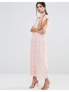 Traffic People Maxi Dress With Burnout Skirt And Kimono Top - Pink