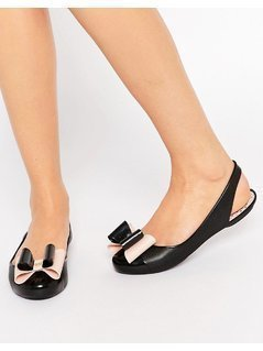 Zaxy Gift Bow Sling Flat Shoes - Black