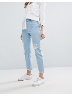 Noisy May Kim Boyfriend Jean with Distressing - Blue