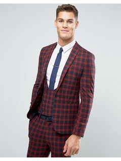 ASOS Super Skinny Suit Jacket In Navy and Red Check - Red