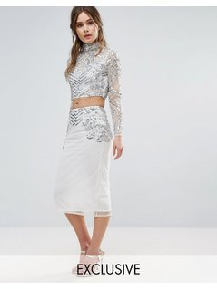 Frock And Frill Embellished Pencil Skirt Co-Ord - Cream