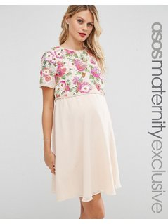 ASOS Maternity NURSING Floral Embellished Skater Dress - Pink