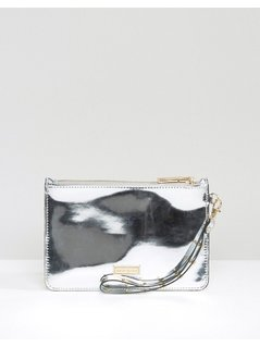 River Island Metallic Wristlet Purse - Silver