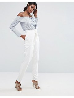 Lavish Alice Tailored Trouser With Wrap Over Tie Detail - White