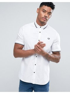 Fred Perry Slim Fit Mixed Weave Shirt White - White