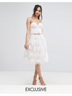 Chi Chi London Lace Midi Prom Skirt with Scalloped Hem Co Ord - Multi