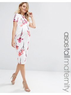 ASOS Maternity TALL Scuba Pencil Dress In Red Floral - Multi