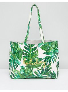 Skinnydip Palm Print Tote Bag with Holiday Embroidery - Green
