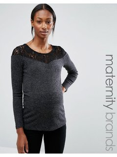 Mamalicious Maternity Top With Lace Trim - Grey