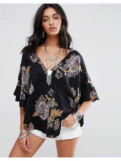 Free People Maui Wowie Printed Floral Blouse - Black