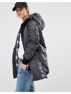 Converse Black Long Padded Jacket With Borg Lined Hood - Black