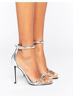 Missguided Barely There Ankle Strap Heeled Sandals - Silver
