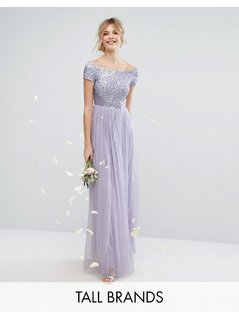 Maya Tall Bardot Maxi Dress With Delicate Sequin And Tulle Skirt - Purple