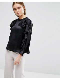 ASOS Ruffle Sweat Top in Satin - Black