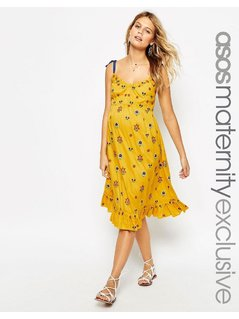 ASOS Maternity Midi Dress with Floral Embroidery - Yellow