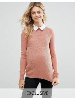 ASOS Maternity Rib Jumper with Collar Detail - Pink