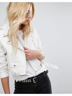 Bershka Leather Look Biker Jacket - White