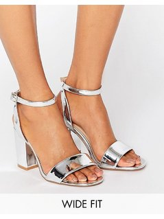 ASOS HERON Wide Fit Heeled Sandals - Silver