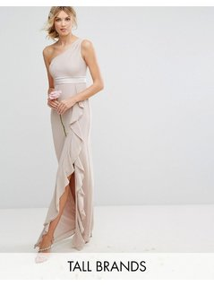 TFNC Tall One Shoulder Maxi Dress With Frill Detail - Pink