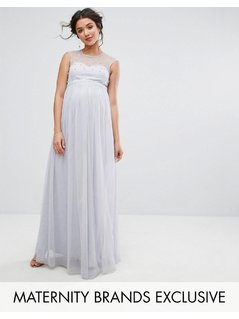 Little Mistress Maternity Maxi Dress With Pearl Embellished Bodice - Grey