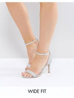 New Look Wide Fit Glitter Barely There Heeled Sandal - Silver