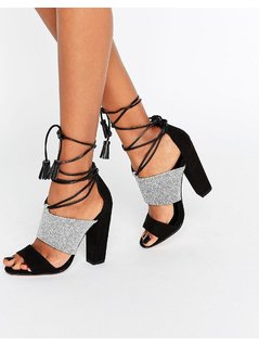 Paper Dolls Nixie Monochrome Sandals with Tassels - Black