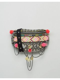 ASOS BEACH Weave Pom Coin Bum Bag - Multi