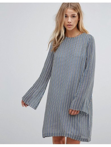 Ganni Allen Georgette Verona Stripe Dress - Blue