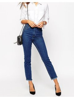 ASOS Farleigh High Waist Slim Mom Jeans in Juniper Wash - Blue
